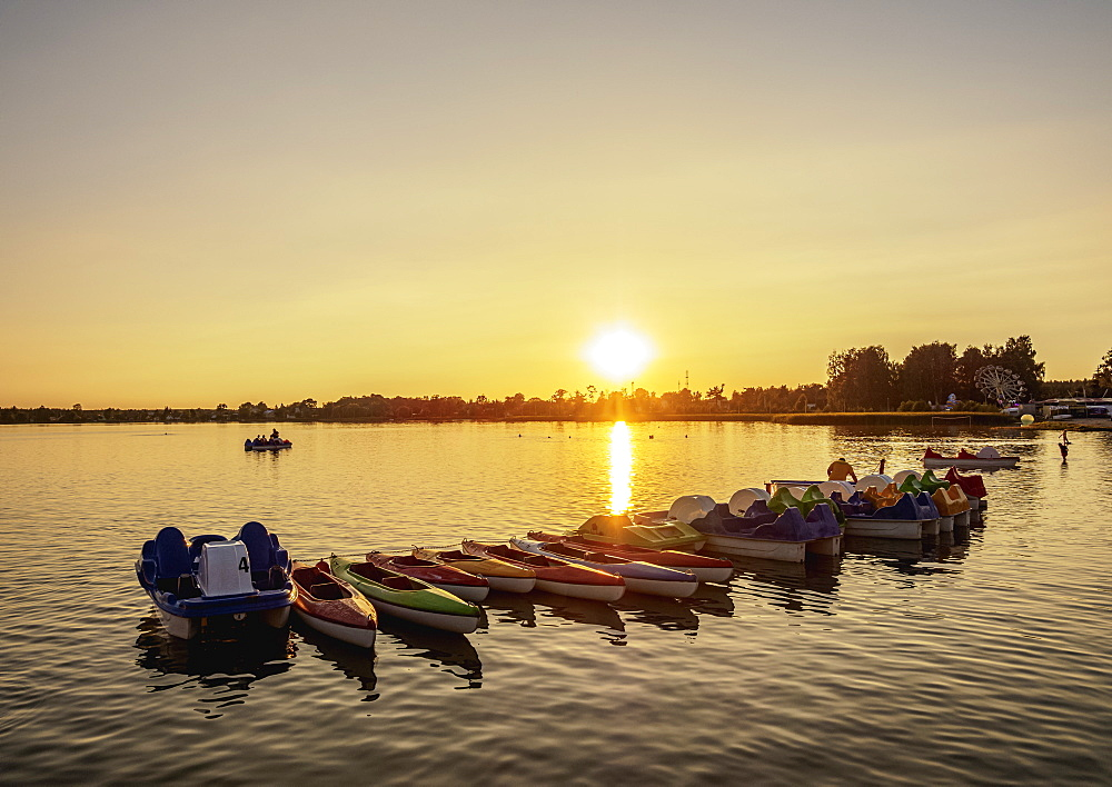 Pedalos at Firlej Lake at sunset, Lublin Voivodeship, Poland, Europe