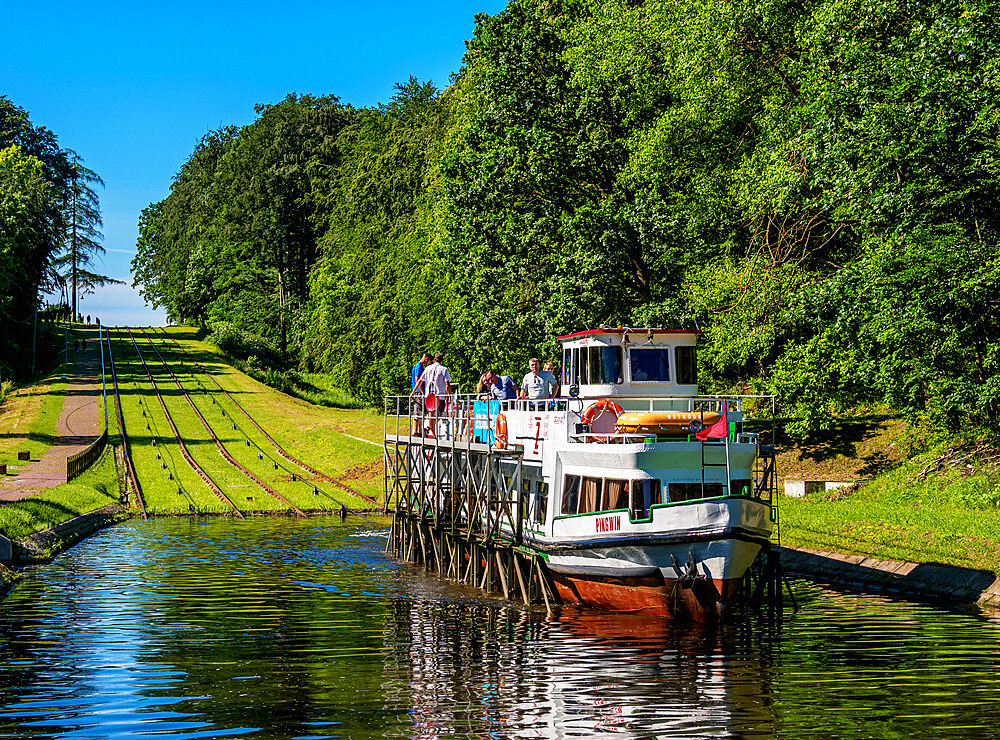 Tourist Boat in Cradle at Inclined Plane in Buczyniec, Elblag Canal, Warmian-Masurian Voivodeship, Poland - 1245-1801