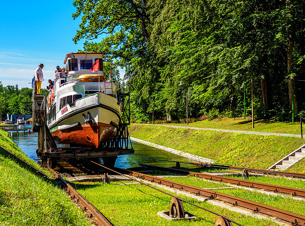 Tourist Boat in Cradle at Inclined Plane in Buczyniec, Elblag Canal, Warmian-Masurian Voivodeship, Poland - 1245-1802