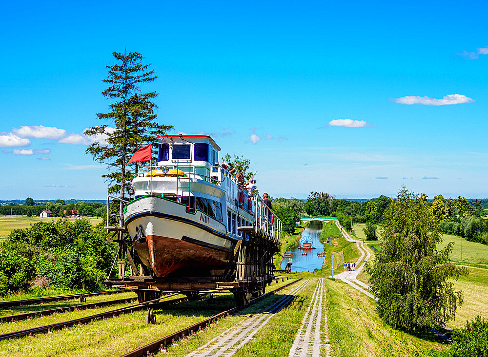 Tourist Boat in Cradle at Inclined Plane in Jelenie, Elblag Canal, Warmian-Masurian Voivodeship, Poland - 1245-1803