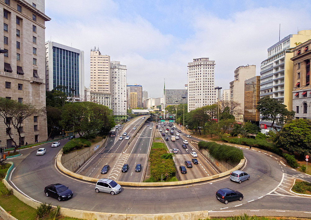 View of Avenida 23 de Maio from Viaduto do Cha, City of Sao Paulo, State of Sao Paulo, Brazil, South America