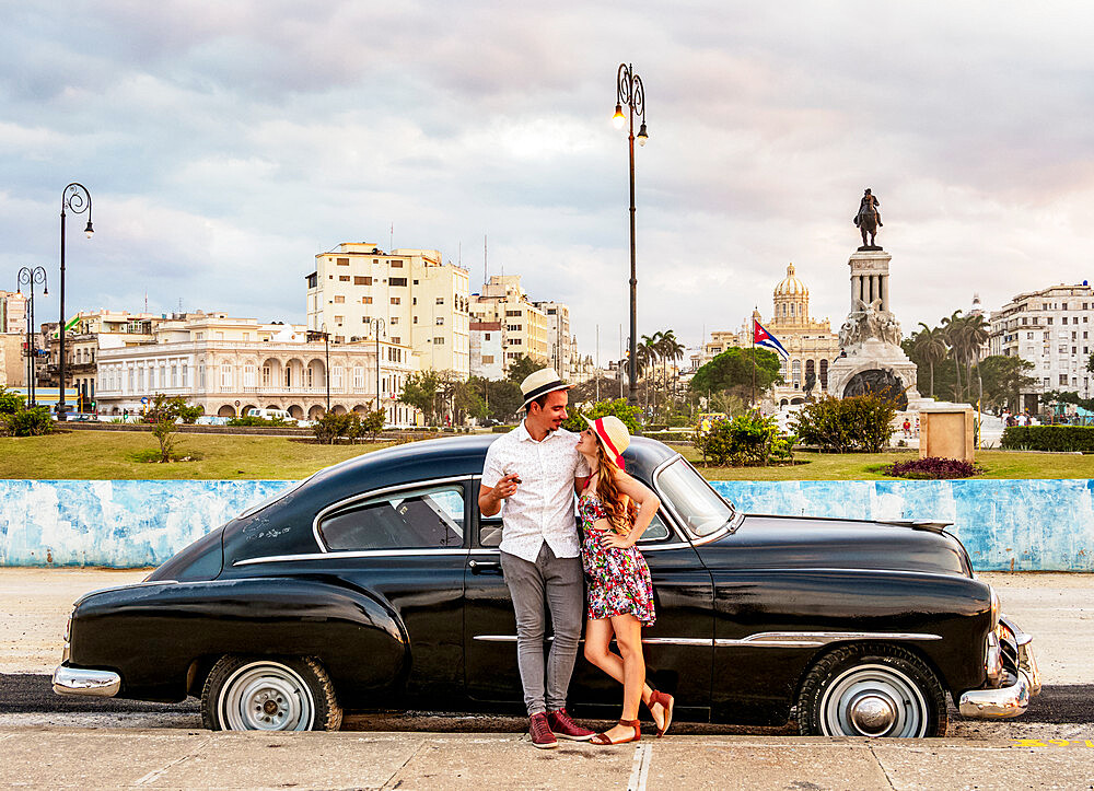 Cuban Couple with Vintage Chevrolet Car, La Habana Vieja, Havana, La Habana Province, Cuba, West Indies, Caribbean, Central America