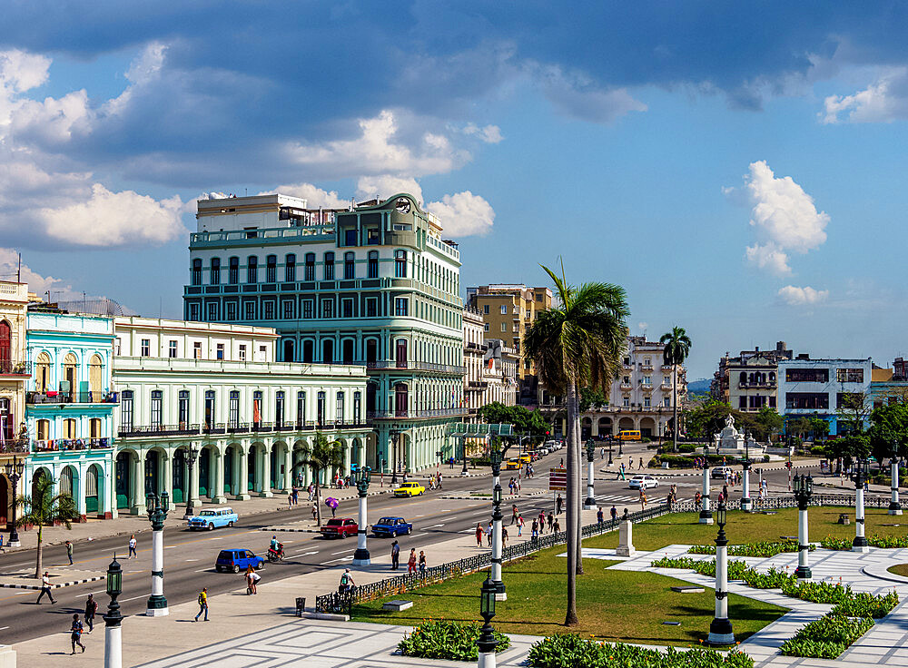 Paseo del Prado (Paseo de Marti), elevated view, Havana, La Habana Province, Cuba, West Indies, Caribbean, Central America