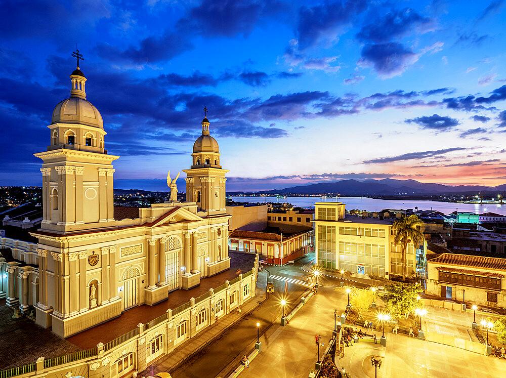 Nuestra Senora de la Asuncion Cathedral at dusk, Parque Cespedes, Santiago de Cuba, Santiago de Cuba Province, Cuba