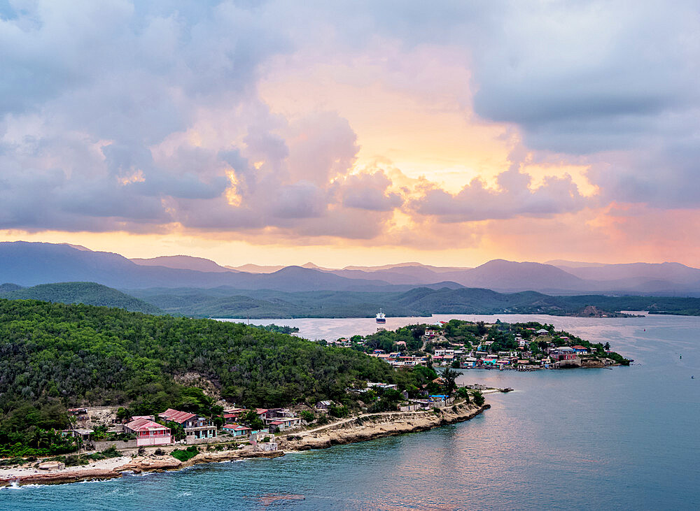 Santiago de Cuba Bay at sunset, elevated view, Santiago de Cuba Province, Cuba, West Indies, Caribbean, Central America