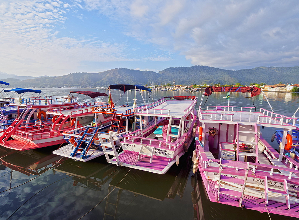 View of the colourful boats in Paraty, State of Rio de Janeiro, Brazil, South America