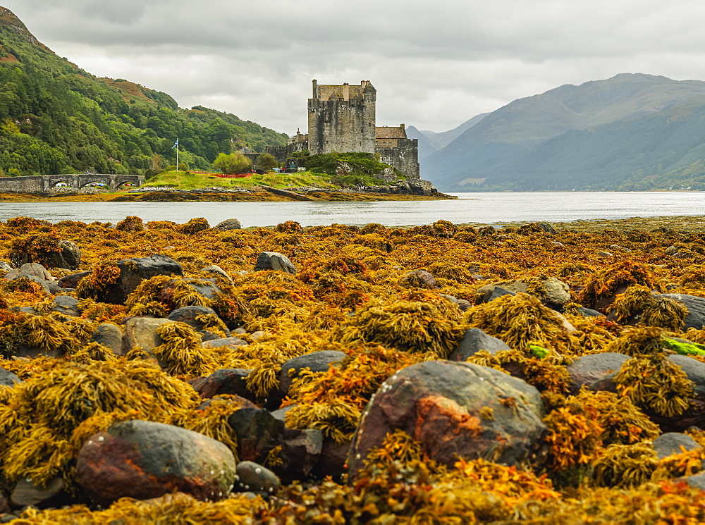 View of the Eilean Donan Castle, Dornie, Highlands, Scotland, United Kingdom, Europe
