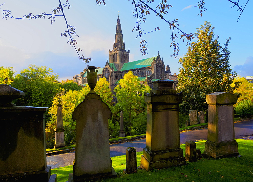 The Necropolis, view towards The Cathedral of St. Mungo, Glasgow, Scotland, United Kingdom, Europe