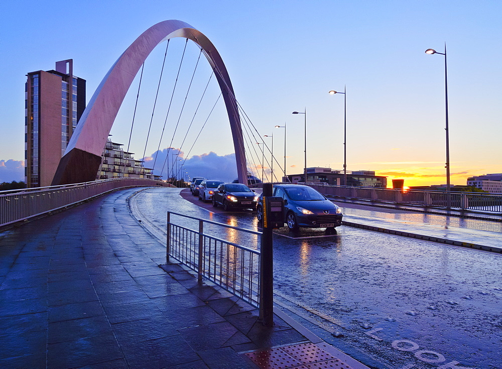 Clyde Arc at sunset, Glasgow, Scotland, United Kingdom, Europe