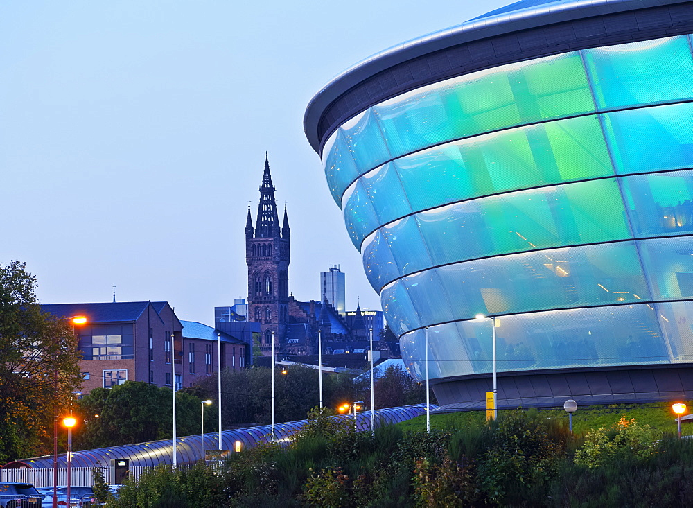 Twilight view of the Hydro, Glasgow, Scotland, United Kingdom, Europe