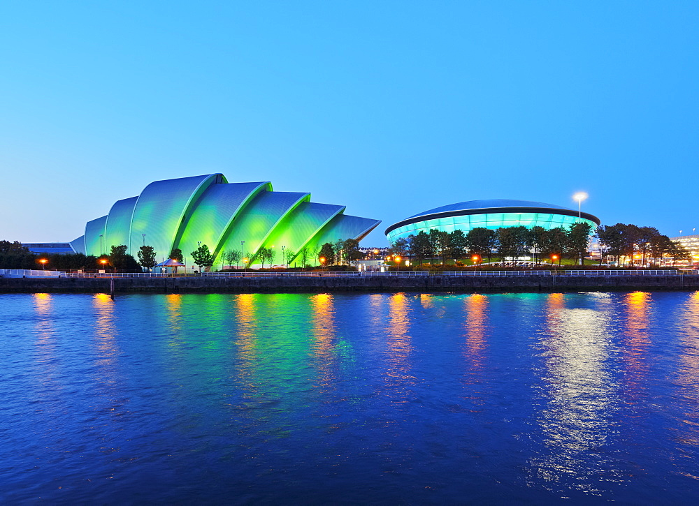 Twilight view of The Clyde Auditorium and the Hydro, Glasgow, Scotland, United Kingdom, Europe