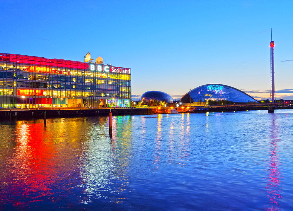 Twilight view of the BBC Scotland and the Glasgow Science Centre, Glasgow, Scotland, United Kingdom, Europe