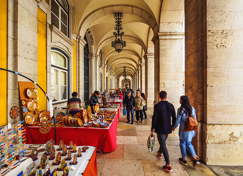 Market under Arcades of the Praca do Comercio, Lisbon, Portugal, Europe