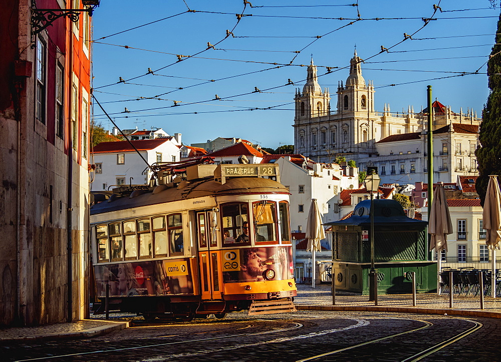 Tram number 28 in Alfama, Lisbon, Portugal, Europe