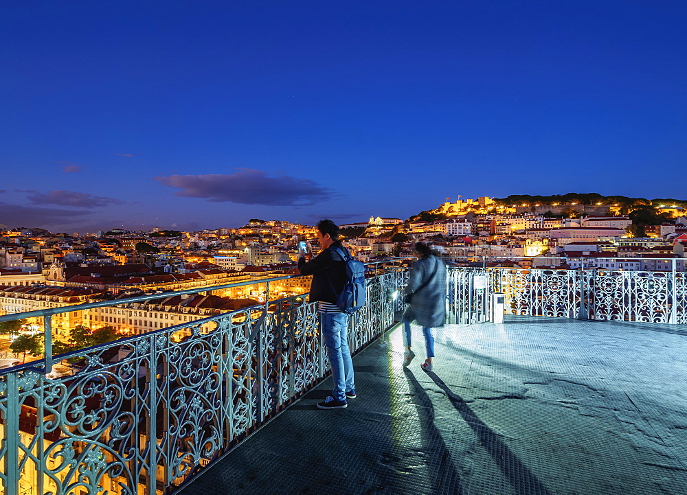 Twilight view of the Santa Justa Lift view point, Lisbon, Portugal, Europe