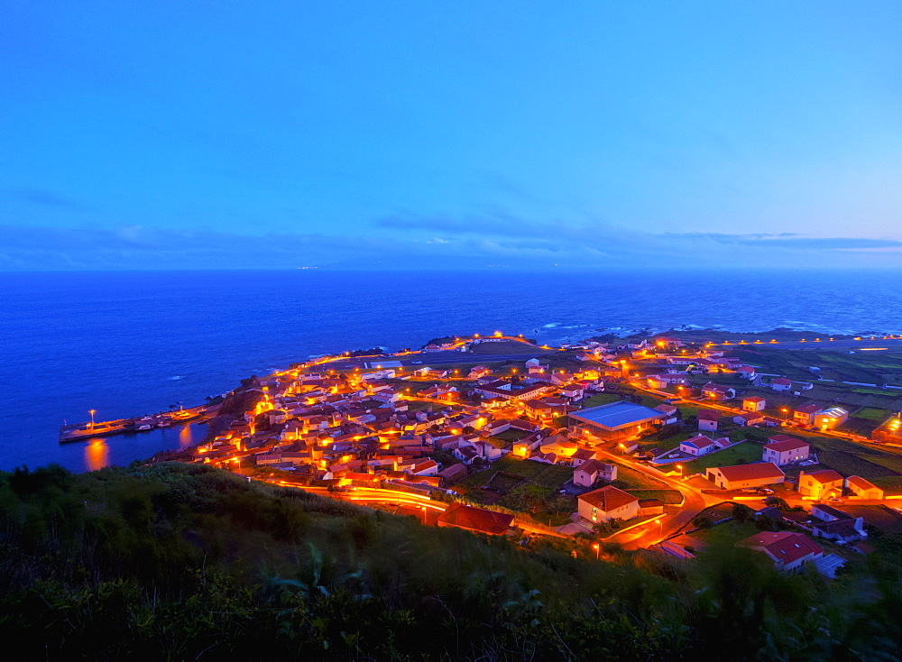 Twilight view of the Vila do Corvo, Corvo, Azores, Portugal, Atlantic, Europe
