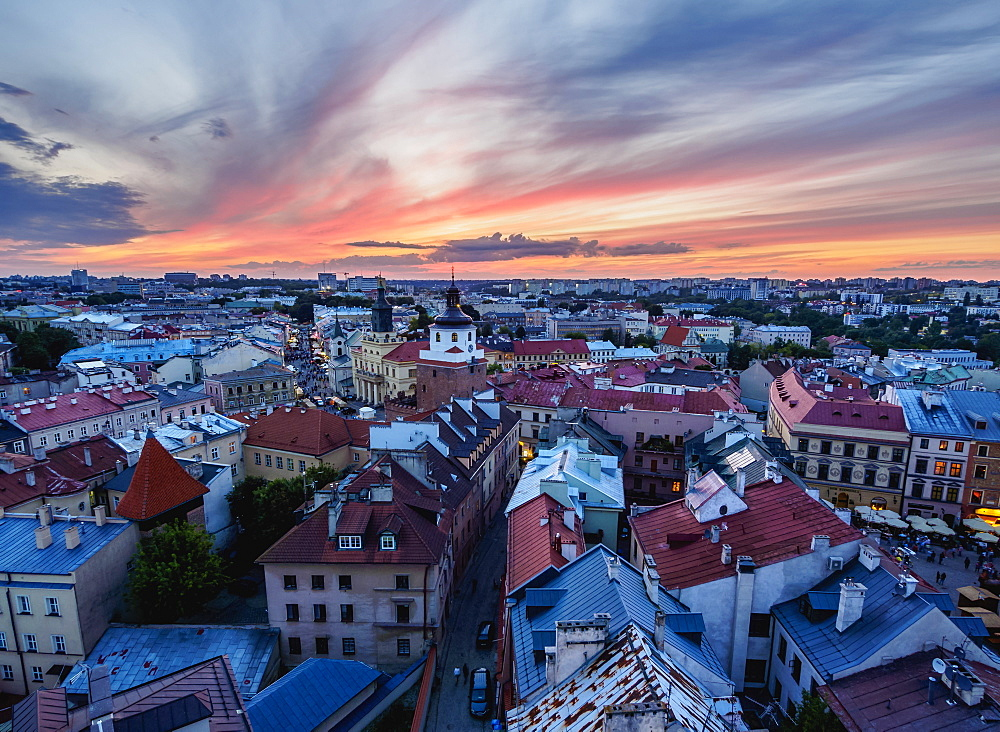 Poland, Lublin Voivodeship, City of Lublin, Elevated view of the Old Town at sunset
