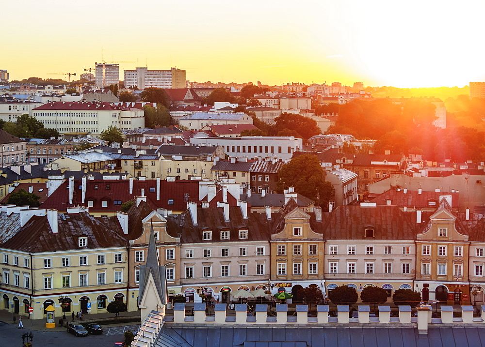 Poland, Lublin Voivodeship, City of Lublin, Old Town Skyline at sunset