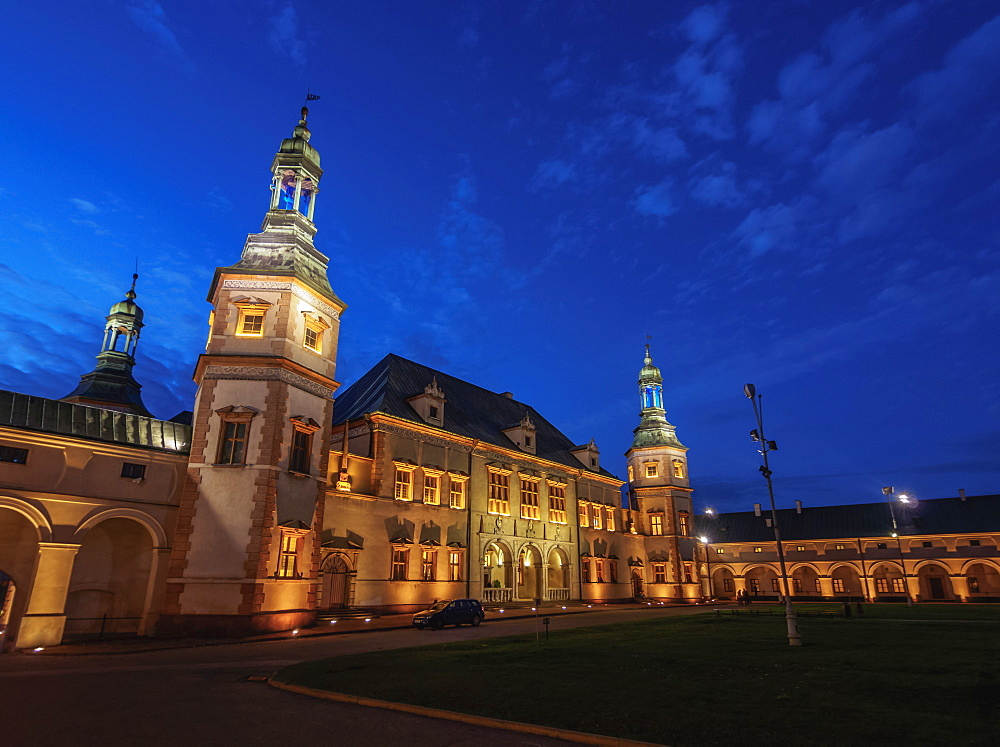 Palace of the Krakow Bishops at twilight, Kielce, Swietokrzyskie Voivodeship, Poland, Europe