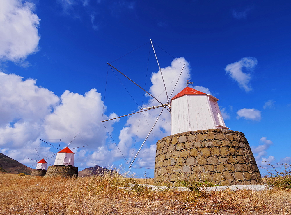 Traditional windmills of Porto Santo Island located on the way from Casinhas to Serra de Fora, Porto Santo, Madeira Islands, Portugal, Europe