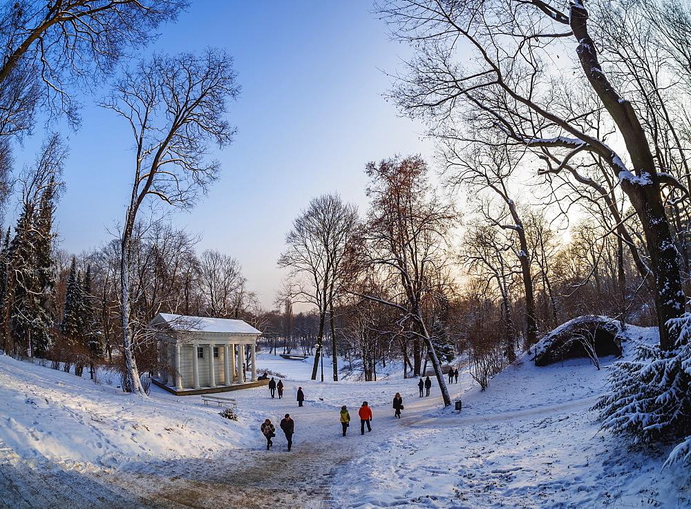 Poland, Masovian Voivodeship, Warsaw, Royal Baths Park at winter time