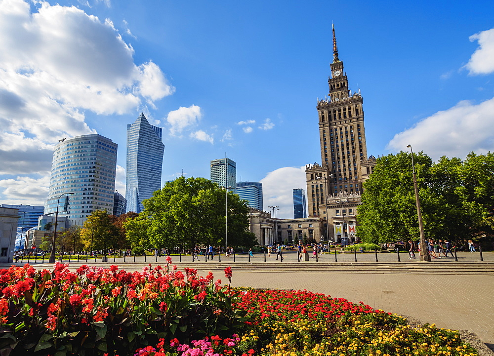 Poland, Masovian Voivodeship, Warsaw, City Center Skyscrapers with Palace of Culture and Science