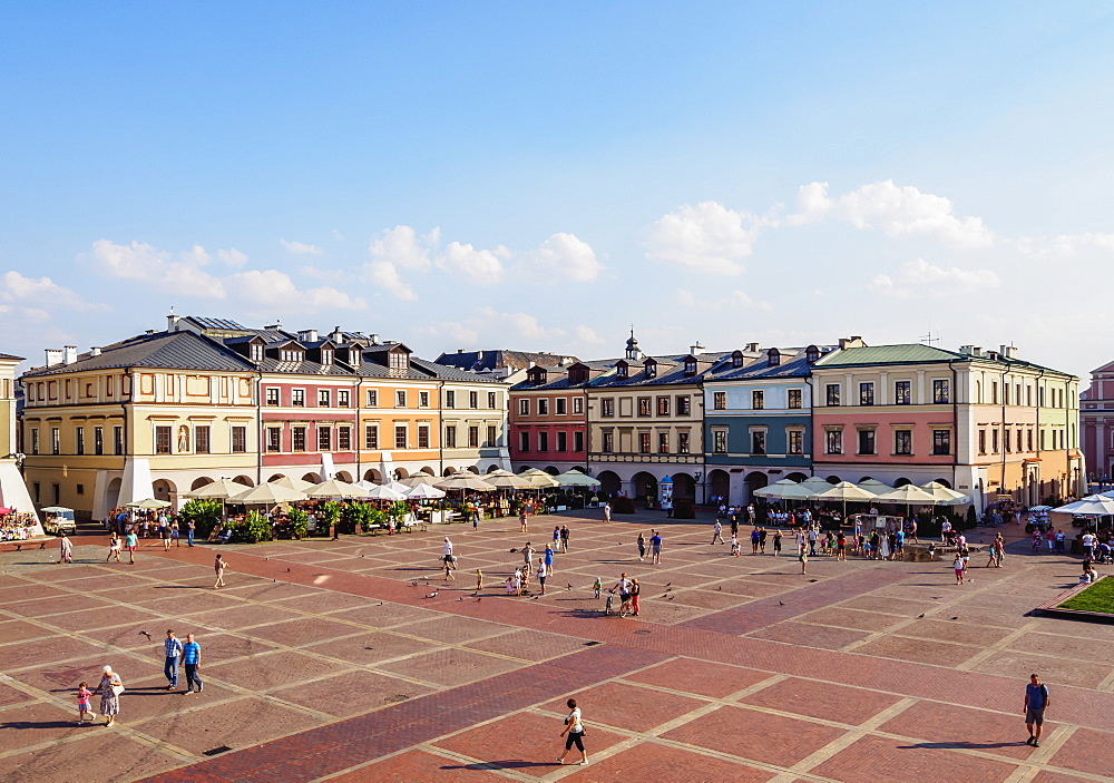 Poland, Lublin Voivodeship, Zamosc, Old Town, Colourful Houses on the Market Square