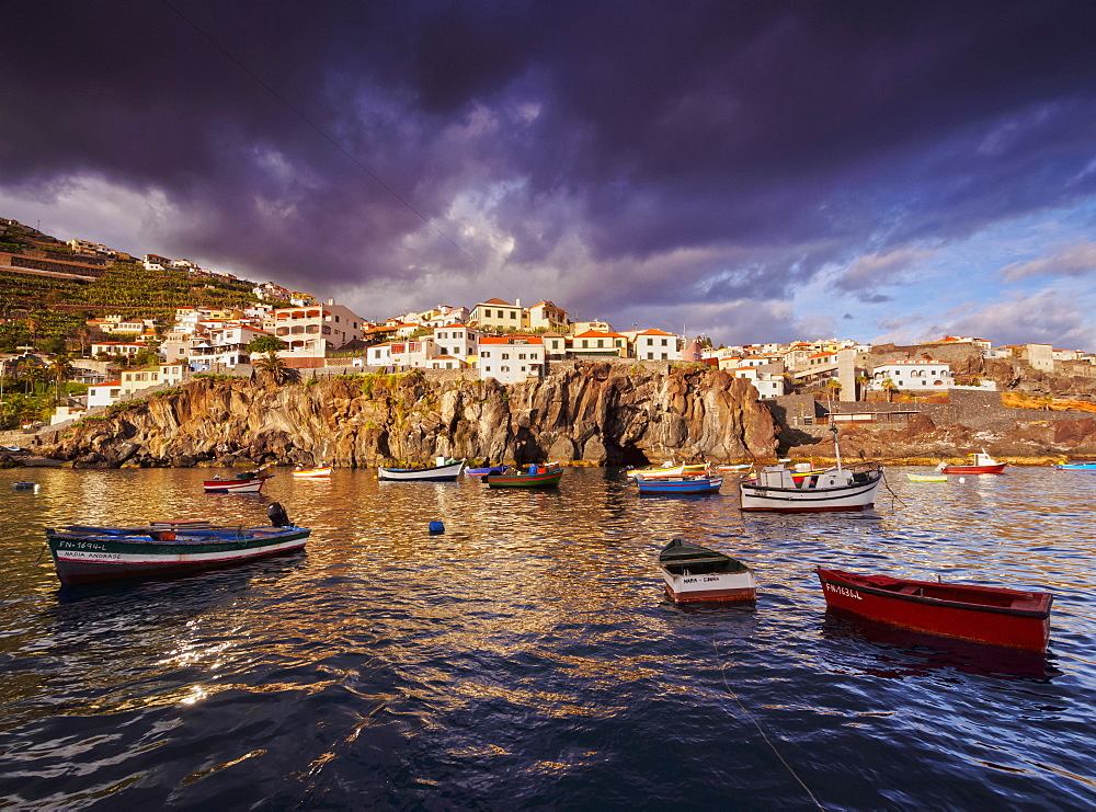 View of the fishing port in Camara de Lobos, Madeira, Portugal, Atlantic, Europe