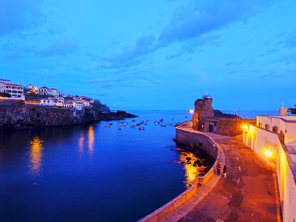 Twilight view of the fishing port in the Camara de Lobos, Madeira, Portugal, Atlantic, Europe