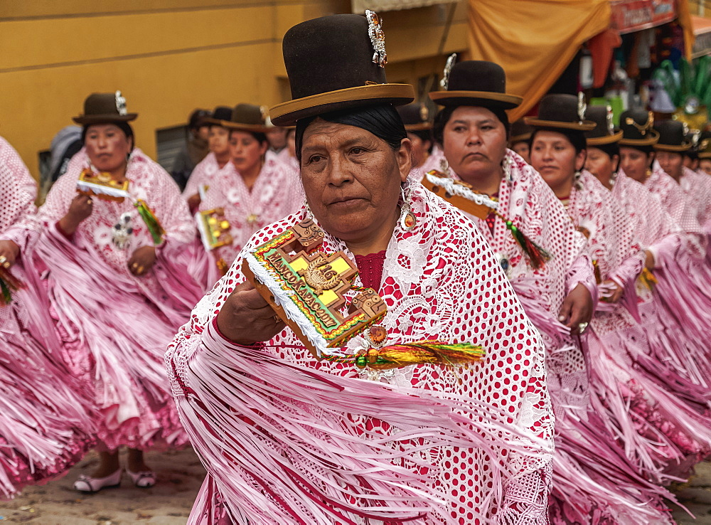 Dancers in traditional costume, Fiesta de la Virgen de la Candelaria, Copacabana, La Paz Department, Bolivia, South America