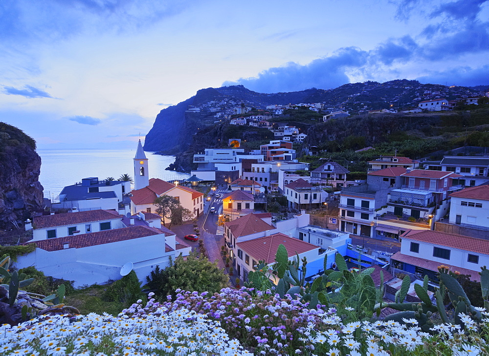 Twilight view of the Camara de Lobos, Madeira, Portugal, Atlantic, Europe