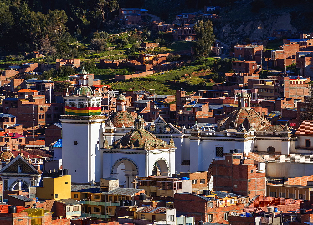 Basilica of Our Lady of Copacabana, elevated view, Copacabana, La Paz Department, Bolivia, South America
