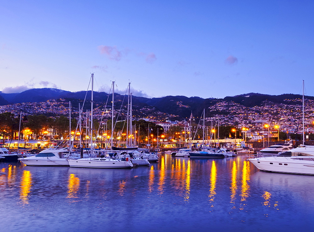 Twilight view of the Marina do Funchal, Funchal, Madeira, Portugal, Atlantic, Europe