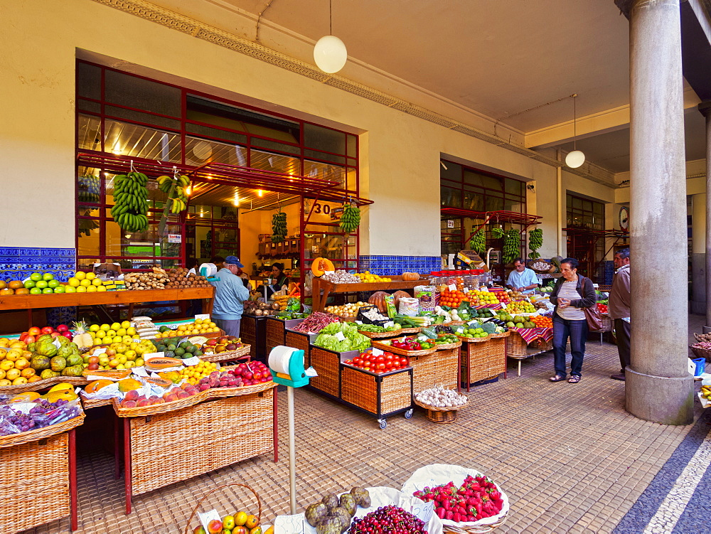 Interior view of the Farmer Market (Mercado dos Lavradores), Funchal, Madeira, Portugal, Europe