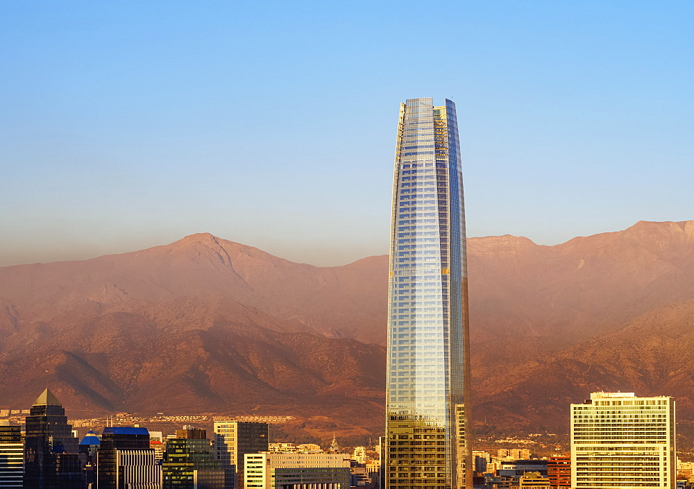 Providencia with Gran Torre Santiago seen from the Metropolitan Park, sunset, Santiago, Chile, South America