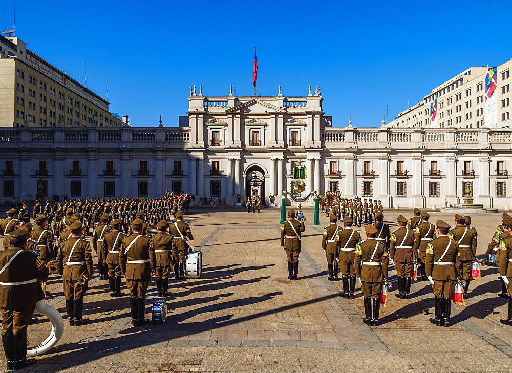 Changing of the Guard at La Moneda Palace, Plaza de la Constitucion, Santiago, Chile, South America
