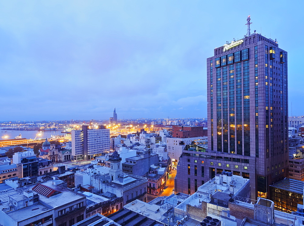 Elevated view of the City Centre with the characteristic building of the Radisson Hotel, Montevideo, Uruguay, South America - 1245-68