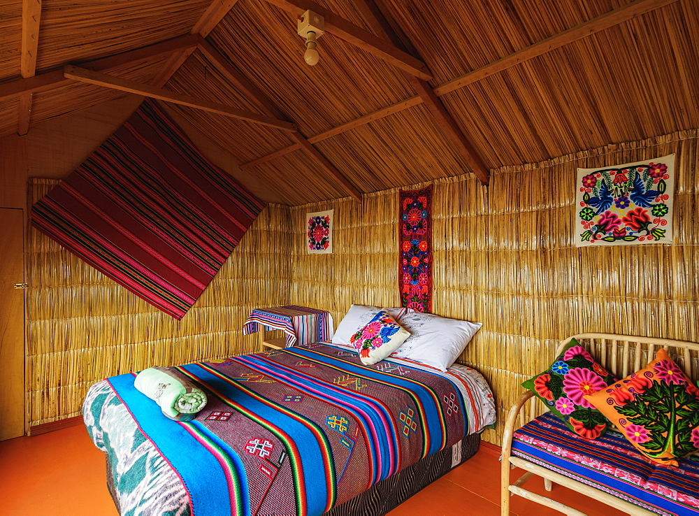 Room interior, Uros Titicaca Lodge, Uros Floating Islands, Lake Titicaca, Puno Region, Peru, South America
