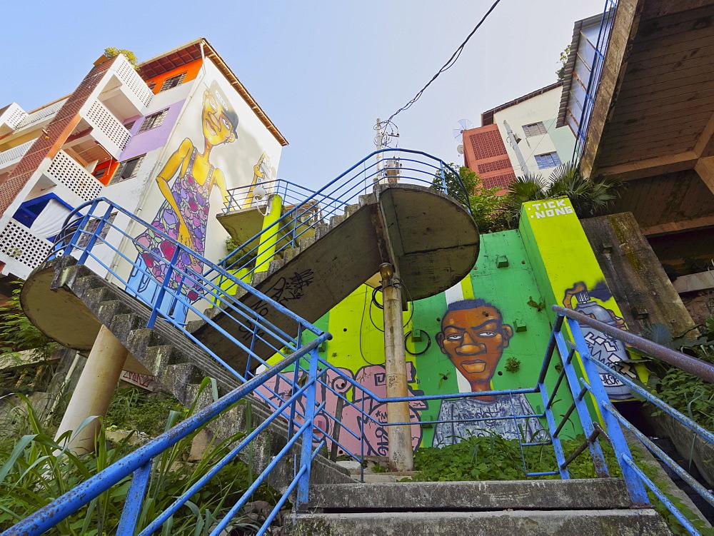 Mural painting in the Favela Santa Marta, Rio de Janeiro, Brazil, South America