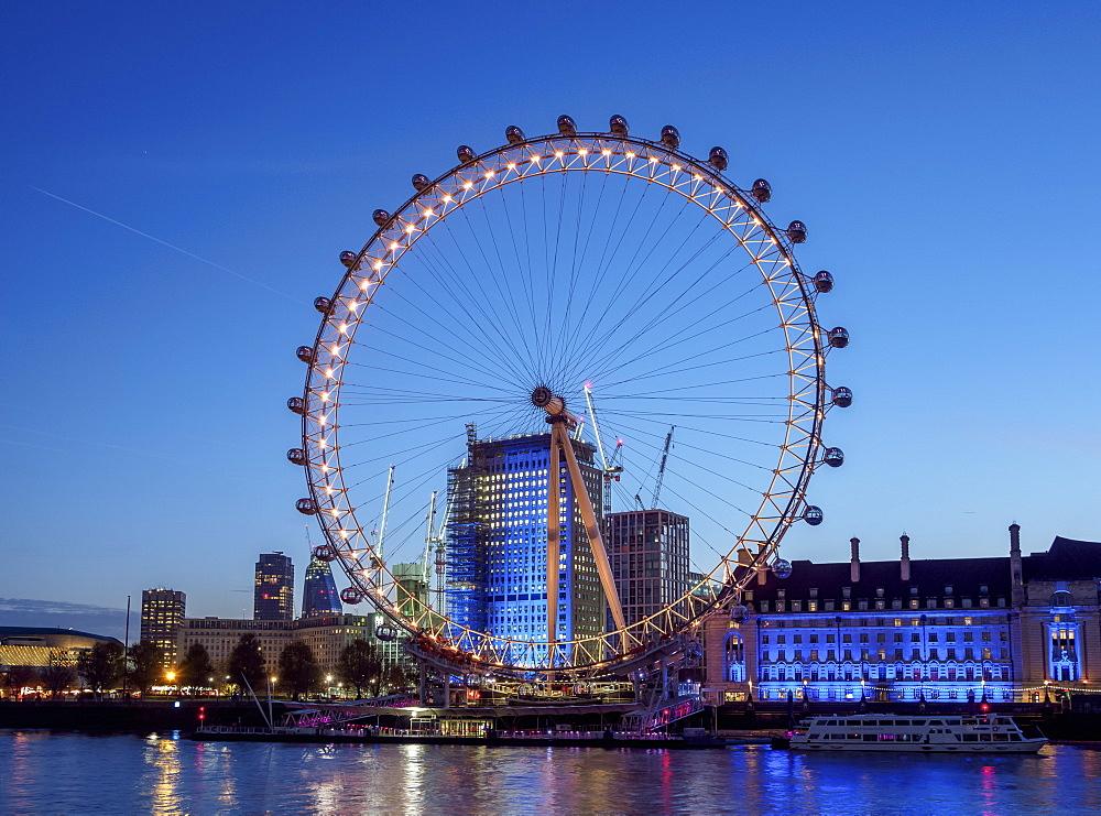 London Eye at twilight, London, England, United Kingdom