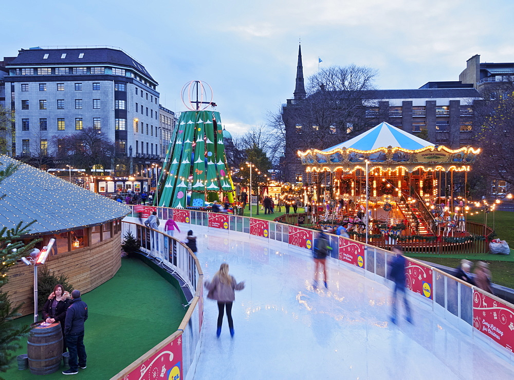Twilight view of the Ice Rink on St. Andrew Square, Edinburgh, Lothian, Scotland, United Kingdom, Europe