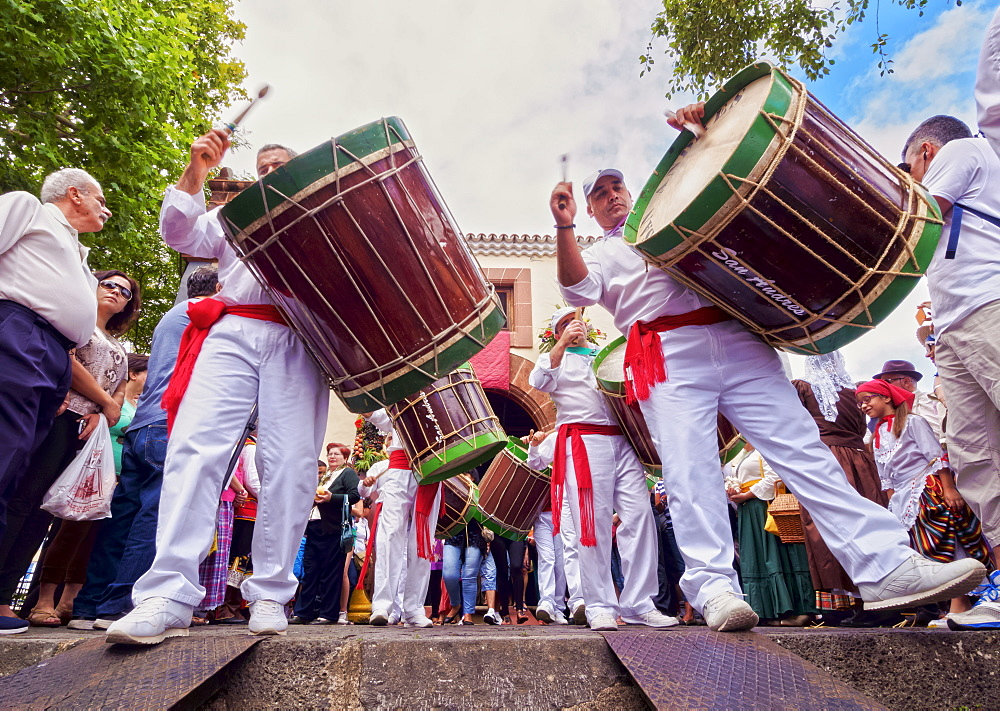 Drums in parade, Romeria de San Benito de Abad, traditional street party, San Cristobal de La Laguna, Tenerife Island, Canary Islands, Spain