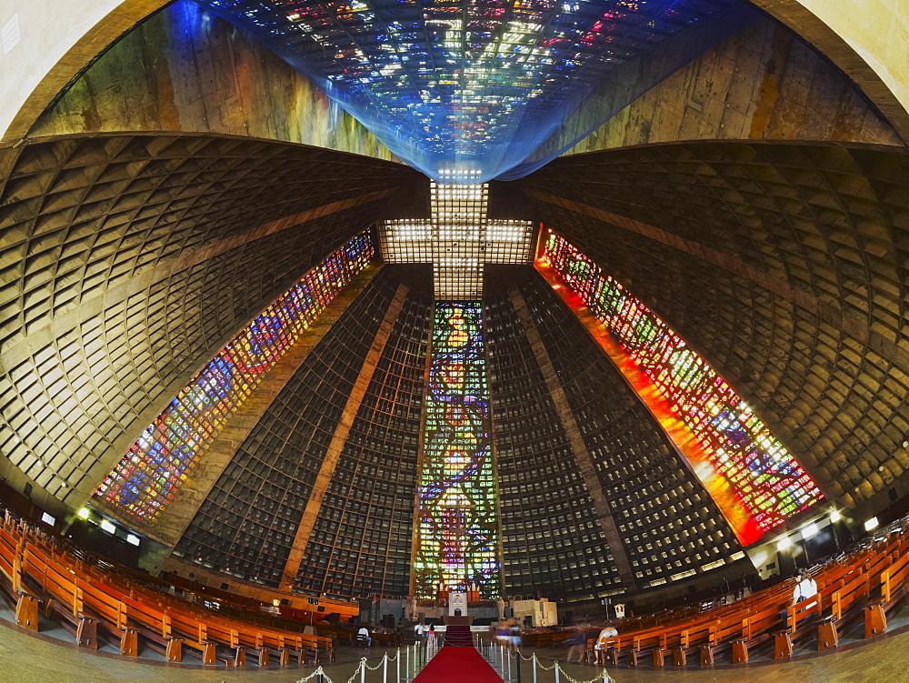 Interior view of the Metropolitan Cathedral of Saint Sebastian, Rio de Janeiro, Brazil, South America