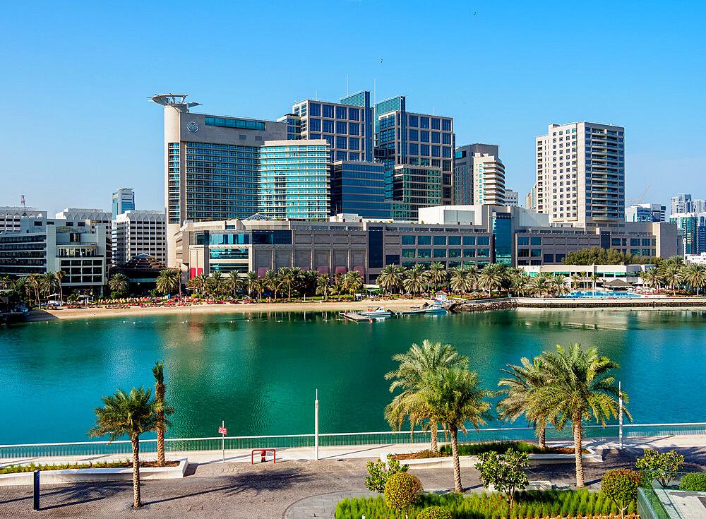 Abu Dhabi Mall and Rotana Beach Hotel seen from Al Maryah Island, Abu Dhabi, United Arab Emirates