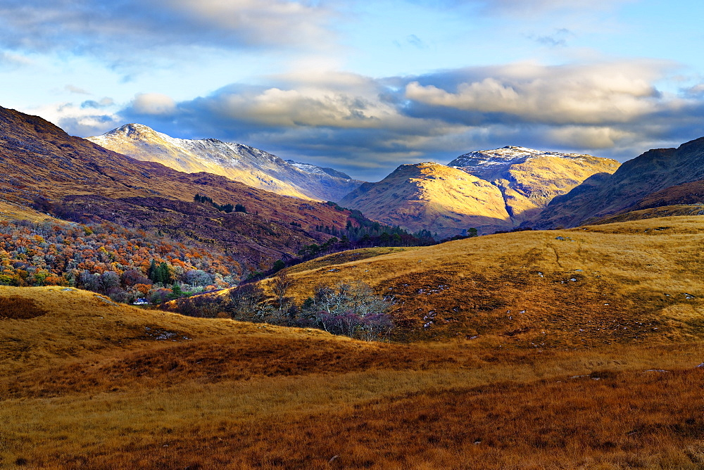 A sweeping winter view of the majestic hills and mountains of Moidart in the Ardnamurchan Peninsula, the Scottish Highlands, Scotland, United Kingdom, Europe
