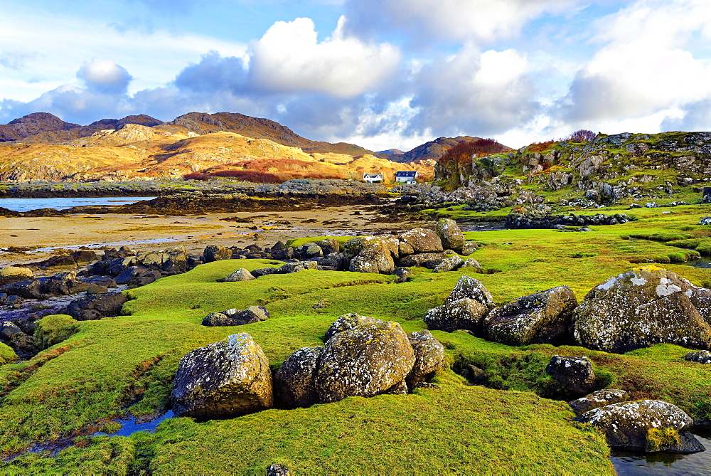 A view of the shore and hills of Portuairk, Sanna Bay along the Ardnamurchan coast in the Scottish Highlands, Scotland, United Kingdom, Europe