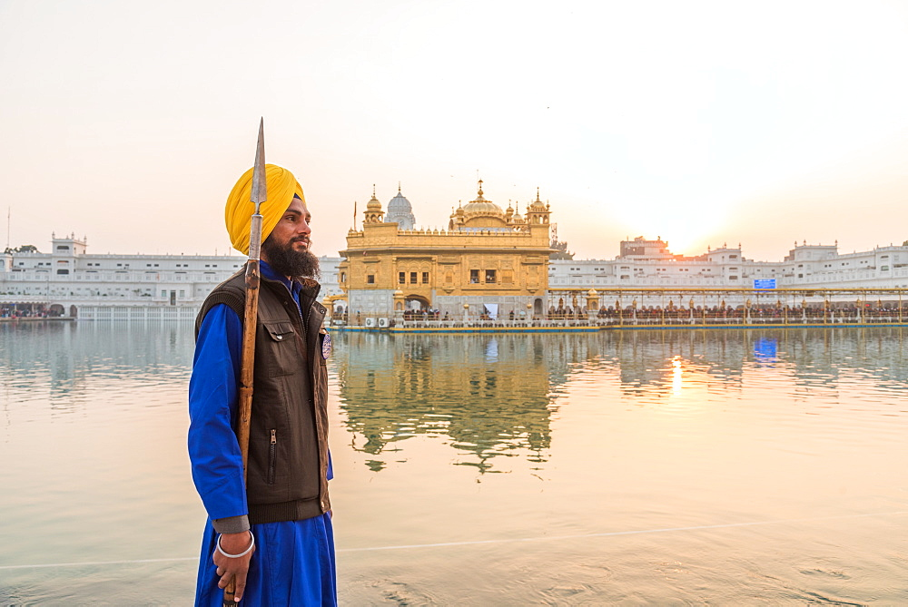 December 2018 - The Golden Temple in Amritsar, India. Guards standing by.