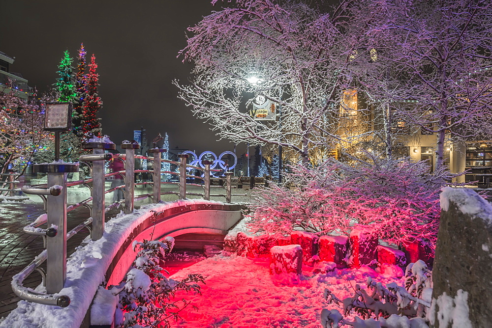 Whistler village lights, Whistler, British Columbia, Canada, North America - 1247-13