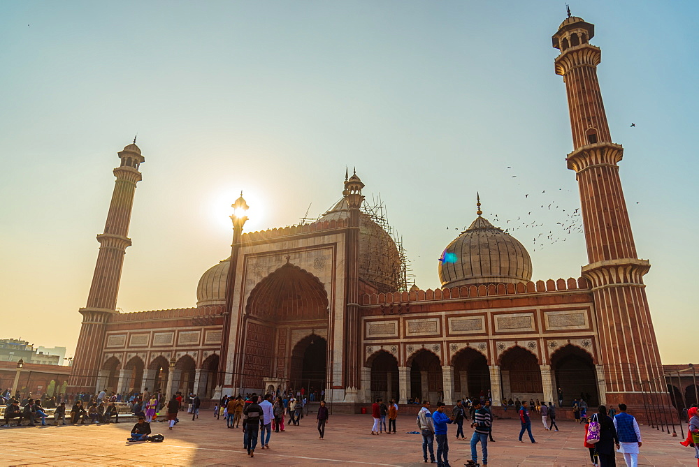 Sunset at Jama Masjid, Old Delhi, India, Asia