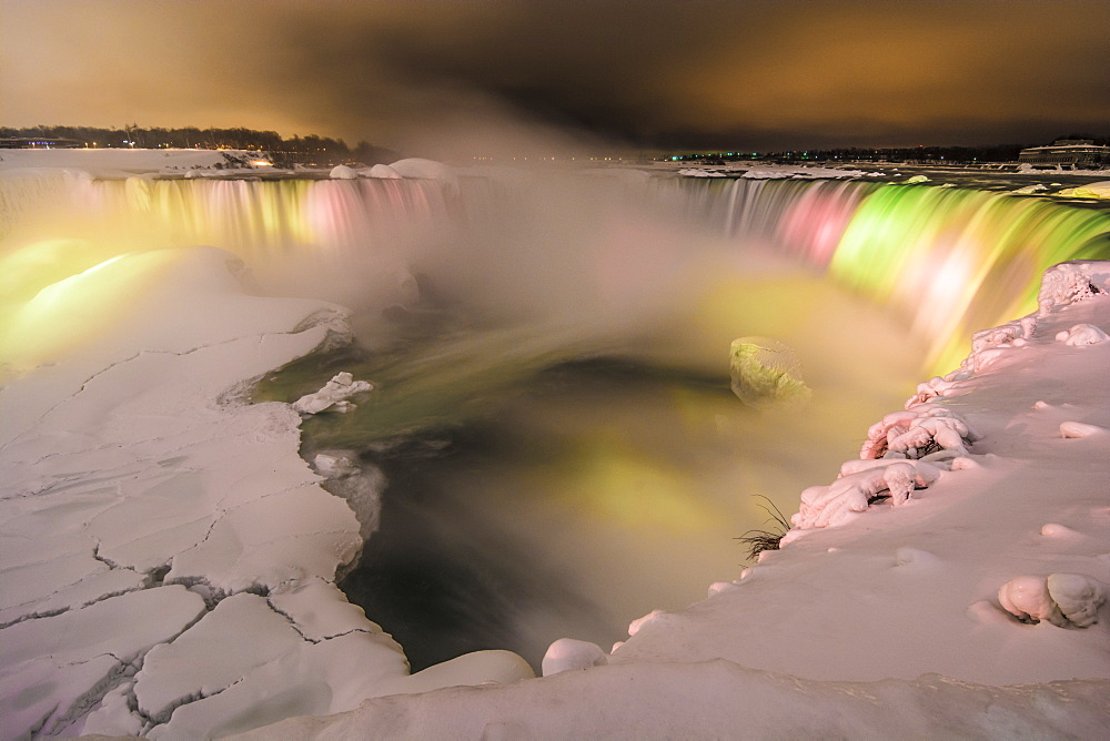 Frozen rainbow at Niagara Falls, Ontario, Canada, North America